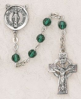 Christian Catholic Swarovski™ Irish Celtic Emerald Sterling Silver