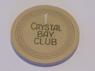 ROULETTE 1 CRYSTAL BAY CLUB LAKE TAHOE NV Vintage Old Casino Chip
