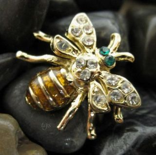 Crystal Bumble Bee Pin Brooch Pendant Gold Brown Tone
