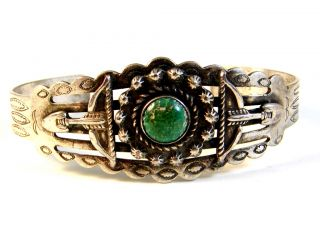 Sanford Native American Sterling Silver Turquoise Cuff Bracelet