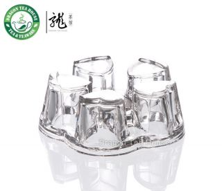 white yellow flower herbal crystal heart clear glass teapot warmer