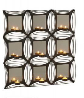 Contemporary Black White Mirror Wall Tea Light Sconce