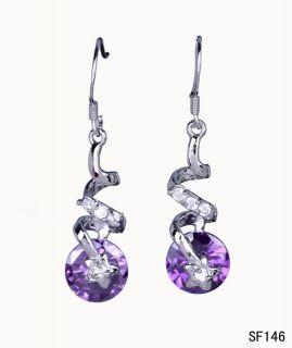 Silver Star Amethyst Crystal Charms Earring Eardrop SF146