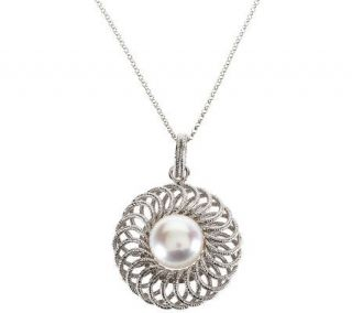 Honora Cultured Pearl 12.0mm Button Pendant with 18 Sterling Chain