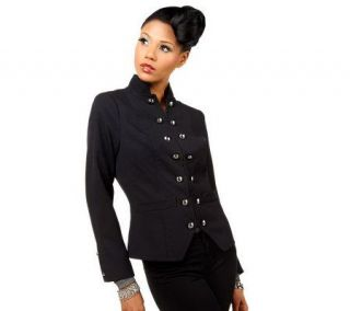 Luxe Rachel Zoe Mandarin Collar Military Blazer with Button Detail