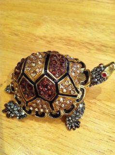 Swarovski Crystal RUCINNI Turtle Trinket Box Hinged Figurine Stunning