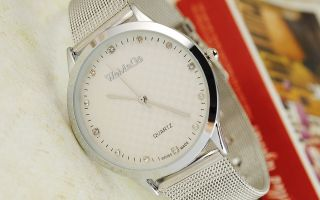 Stainless s Silver Quartz Crystal Watch Thin Steel Band Gift