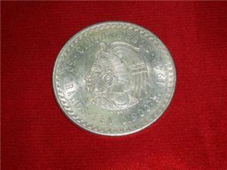 1948 Cuauhtemoc 90 Silver Aztec Ruler Cinco Pesos Mexico Ace 12