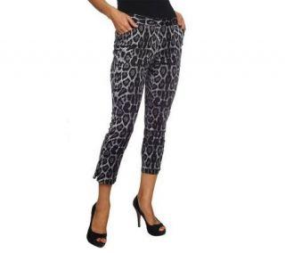 George Simonton Leopard Print Slim Leg Pants with Zipper Detail
