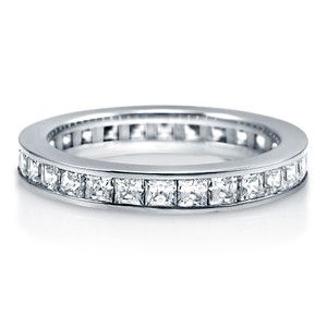 PRINCESS CUBIC ZIRCONIA STERLING SILVER CHANNEL SET FULL ETERNITY RING