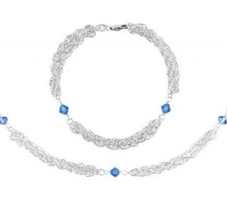 Sterling Multi strand Chain Bracelet & NecklaceSet   J306083