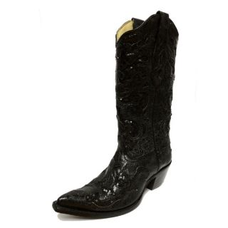 Corral Ladies Black Goat Sequin Inlay Leather Cowgirl Boots A1070