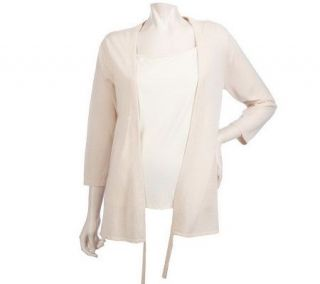LOGO by Lori Goldstein Cardigan with Adjustable Pull Detail   A213890