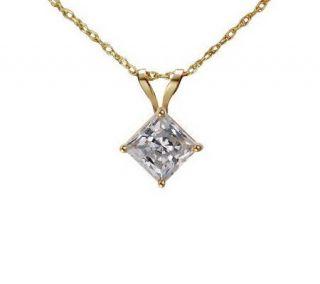 Diamonique 0.75 ct Princess Solitaire Pendant w/Chain, 14KGold