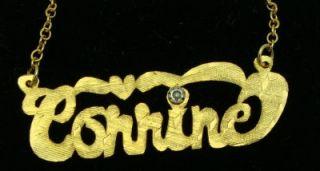 Gold Filled Diamond Name Pendant Corrine