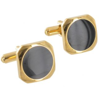 Cufflinks Mens New Jewelry Black Onyx Rounded Square Gold Plated Cuff