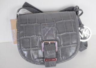 Michael Kors Gray Saddle Bag Croco Small Messenger Bag