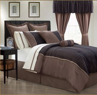 New King Comforter Chocolate Brown Black 24pc Bed in A Bag with Cotton