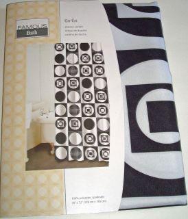 Mod Geometric Shower Curtain Black White Circles Squares GoGo