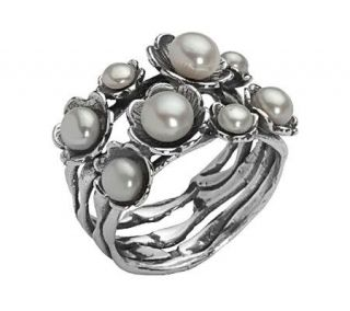 Or Paz Sterling Cultured Freshwater Pearl Flower Ring   J301517