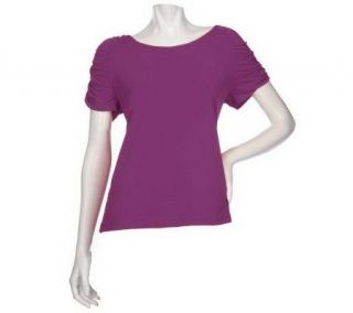Susan Graver Liquid Knit Top with Ruched Short Sleeves   A199600
