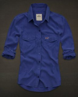 Hollister Bettys Womens Shirt Costa Mesa Button Down Blouse Top Blue M