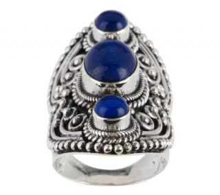 Artisan Crafted Sterling Lapis Elongated Beaded Ring   J262822