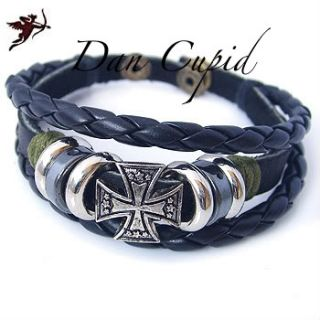 Black punk maltese cross leather ethnic bracelet emo handcraft