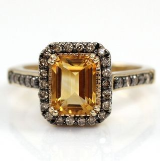 Yellow Gold Emerald Cut Citrine Chocolate 0 33ct Diamond Ring Size 7