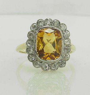 Amazing Antique Victorian Citrine Rose Cut Diamond Ring