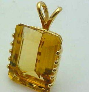 Large Emerald Cut Citrine Yellow Topaz 14k Pendant