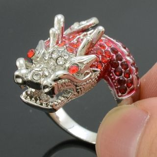 Silver Tone Cute Dragon Cocktail Ring Size 7 w Red Swarovski Crystals