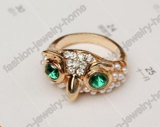 Green Crystal Eyes Imitate Pearl Cute Owl Gold Ring Fashion