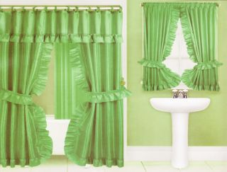 Double Swag Fabric Shower Curtain Valance Vinyl Liner & Window Curtain