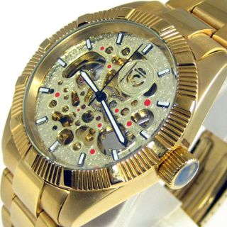 Mens New Croton Automatic Skeleton Watch Gold Tone Bracelet
