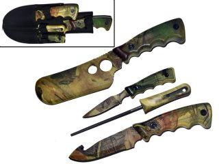Camo Hunting Knives Butcher Skinning Knife Set Sharpener Case