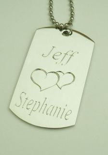 Personalized Dog Tag Necklace Custom Heart Silver Pendant Free