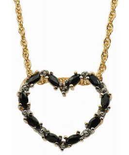 Gold Vermeil Marquise Sapphire Heart Pendant Necklace