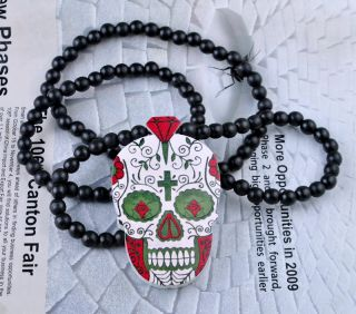 Skull Supply Co Pendant Hip Hop Chain Necklace Custom Wood