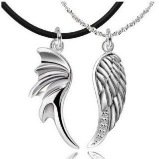 Silver Devils Angels Wings w CZ Pendants Couple Necklaces