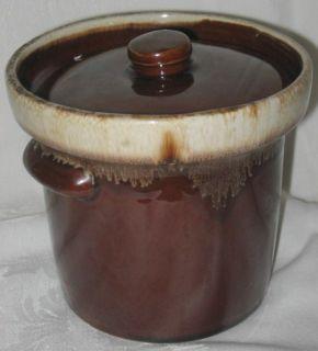 Pottery Brown Drip Sauce Pot Crock wi Lid Art Retro Mint