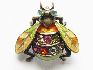 Crystal Enamel Wings Housefly Bee Bug Beetle Orange Green Brooch Pin