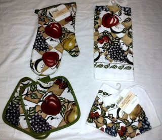 Fruit Apple Grapes Country Kitchen Towel Oven Mitt Dishcloth Pot