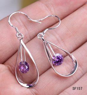 Silver Drop Amethyst Crystal Charms Earring Eardrop SF157