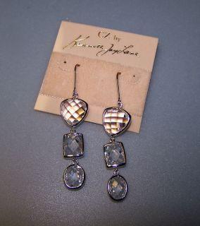 NEW CZ by Kenneth Jay Lane Rhodium Silver Multi Shape Triple Stone