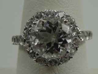 14k White Gold Ring Clear CZ Brilliant Round Cut Accent Stones Prong