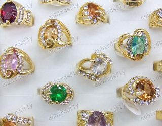 jewelry lots 10X Rhinestone Cubic Zirconia Gold P rings