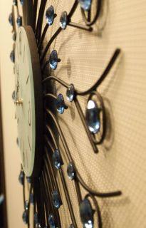 Retro Big Wall Clock 71cm Steel Arm with Glass Crystal Decor Dark and