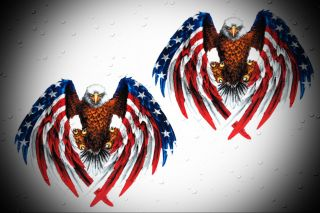 Harley Davidson Chopper USA Flag Eagle Decal Stickers