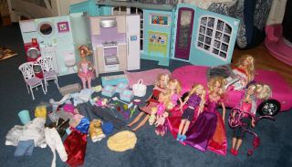 LOT MY HOUSE BARBIE DOLLHOUSE 12 DOLLS 58 ACCESSORIES CAR MORE